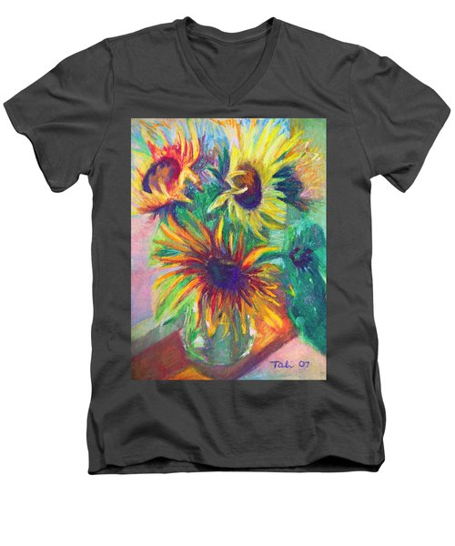 Brandy's Sunflowers - Still Life On Windowsill Men's V-Neck T-Shirt