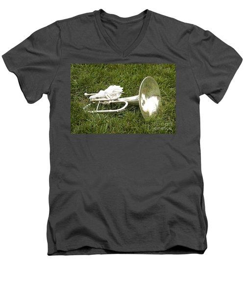 Brass In Grass Men's V-Neck T-Shirt by Carol Lynn Coronios