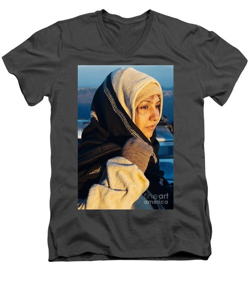 Men's V-Neck T-Shirt featuring the photograph Braving The Cold by Fotosas Photography