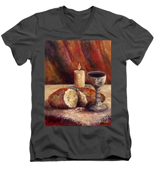 Men's V-Neck T-Shirt featuring the painting Bread And Wine by Lou Ann Bagnall