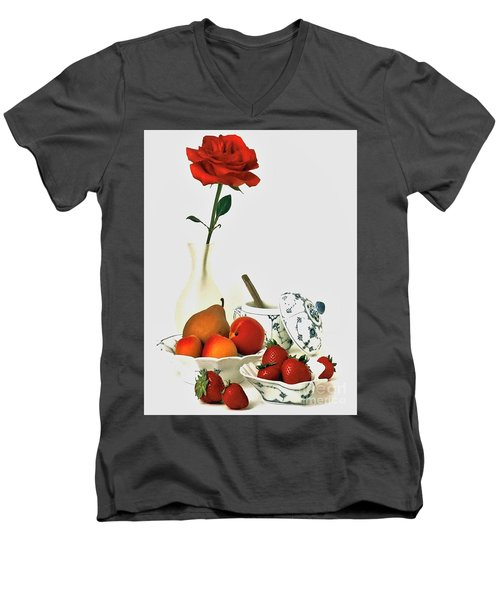 Men's V-Neck T-Shirt featuring the photograph Breakfast For Lovers by Elf Evans