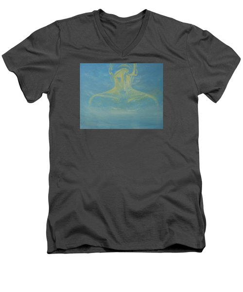 Men's V-Neck T-Shirt featuring the painting Breathe by Jane  See