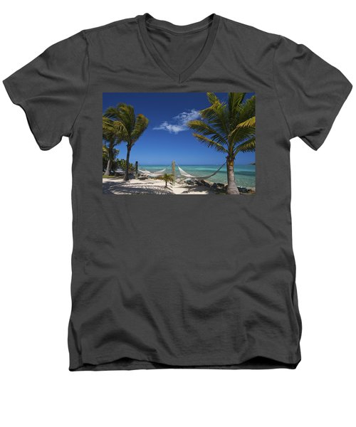 Breezy Island Life Men's V-Neck T-Shirt by Adam Romanowicz