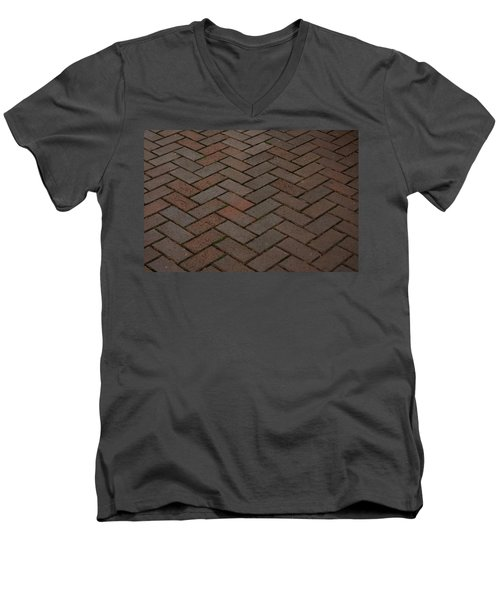 Brick Pattern Men's V-Neck T-Shirt by Tikvah's Hope