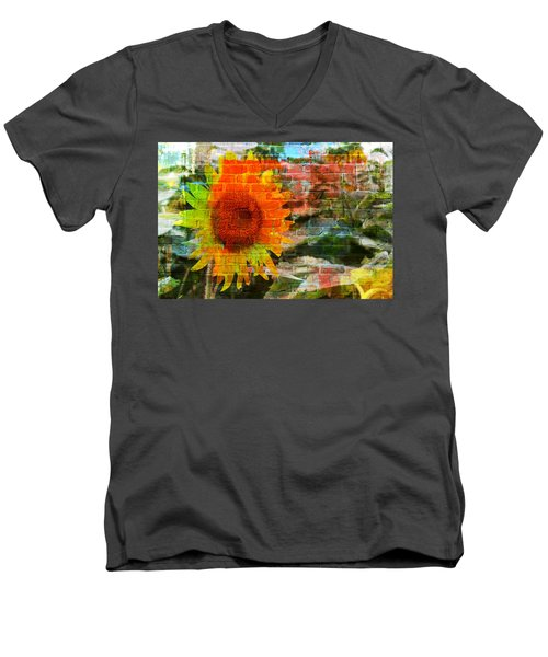 Bricks And Sunflowers Men's V-Neck T-Shirt