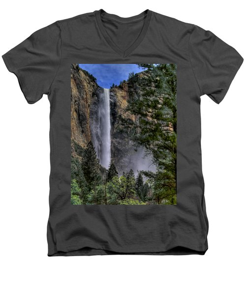 Bridalveil Falls Men's V-Neck T-Shirt by Bill Gallagher