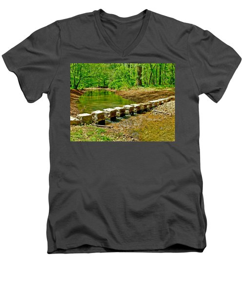 Bridge Across Colbert Creek At Mile 330 Of Natchez Trace Parkway-alabama Men's V-Neck T-Shirt