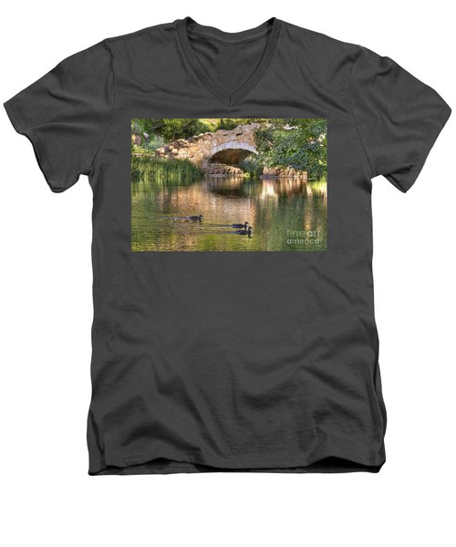 Men's V-Neck T-Shirt featuring the photograph Bridge At Stow Lake by Kate Brown