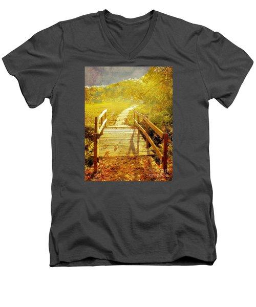 Bridge Into Autumn Men's V-Neck T-Shirt by Janette Boyd