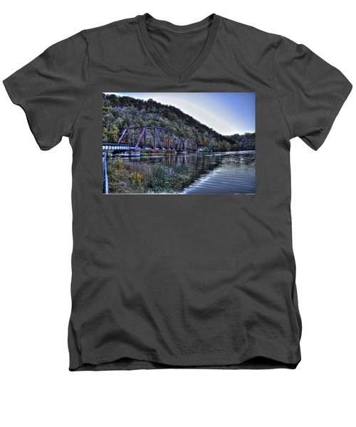 Men's V-Neck T-Shirt featuring the photograph Bridge On A Lake by Jonny D