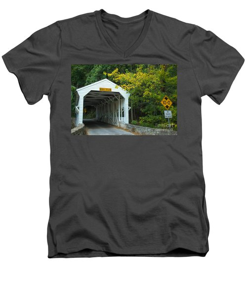 Men's V-Neck T-Shirt featuring the photograph Bridge On Route 252 In Valley Forge by Rima Biswas