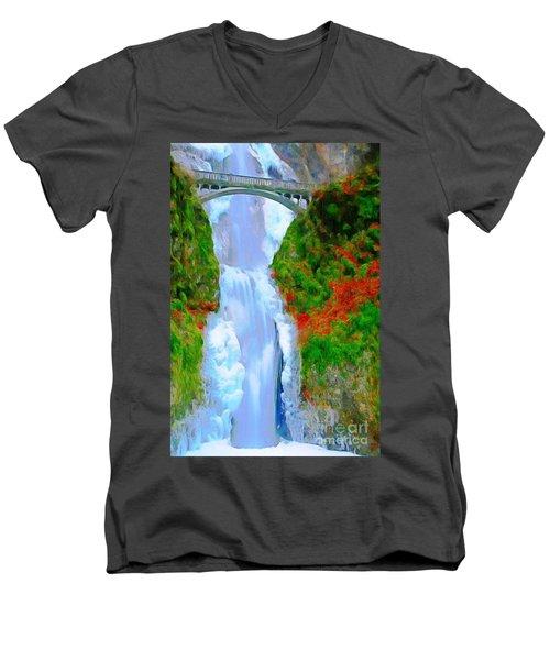 Bridge Over Beautiful Water Men's V-Neck T-Shirt by Catherine Lott