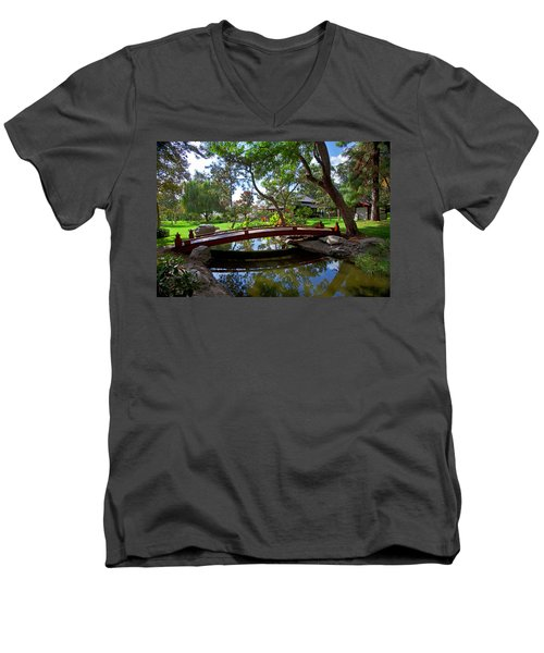 Men's V-Neck T-Shirt featuring the photograph Bridge Over Japanese Gardens Tea House by Jerry Cowart