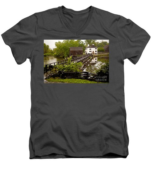 Men's V-Neck T-Shirt featuring the photograph Bridge To Philipsburg Manor Mill House by Jerry Cowart