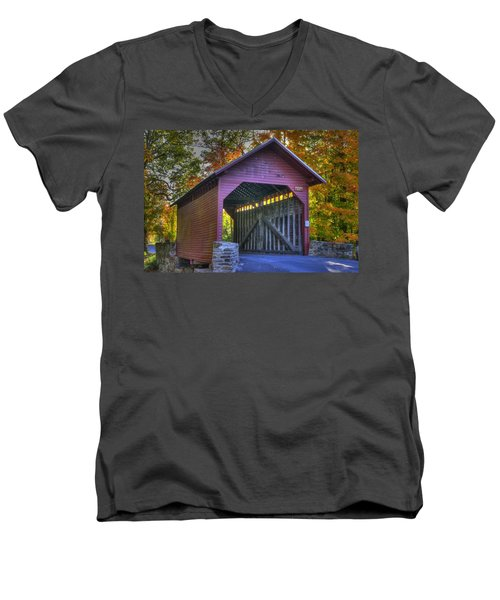 Men's V-Neck T-Shirt featuring the photograph Bridge To The Past Roddy Road Covered Bridge-a1 Autumn Frederick County Maryland by Michael Mazaika
