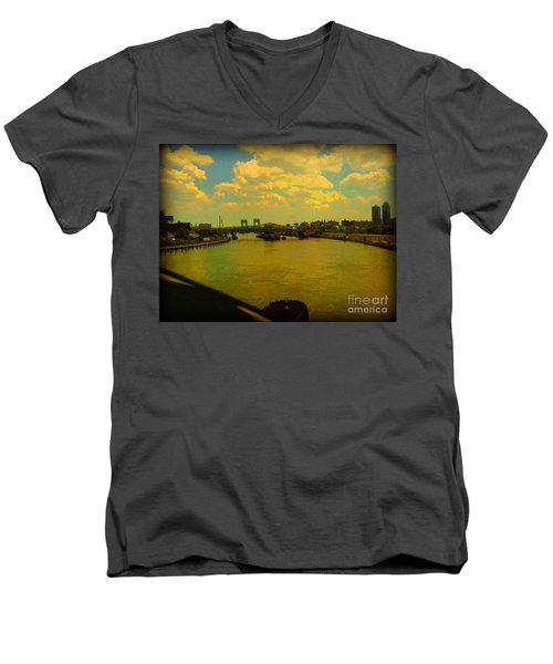 Bridge With Puffy Clouds Men's V-Neck T-Shirt by Miriam Danar