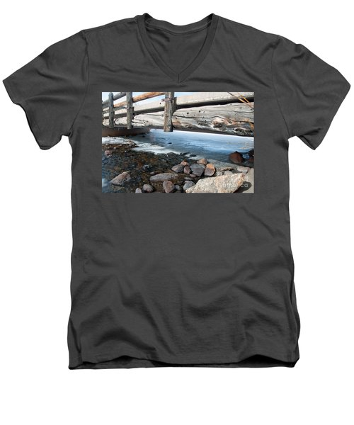Men's V-Neck T-Shirt featuring the photograph Bridges by Minnie Lippiatt