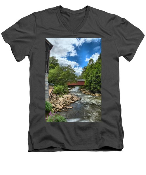 Bridging Slippery Rock Creek Men's V-Neck T-Shirt