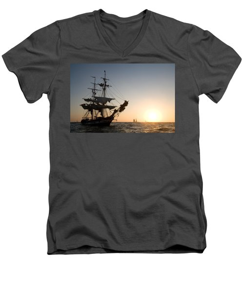Brig Pilgrim At Sunset Men's V-Neck T-Shirt