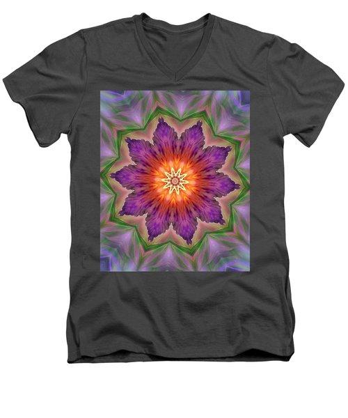 Men's V-Neck T-Shirt featuring the digital art Bright Flower by Lilia D