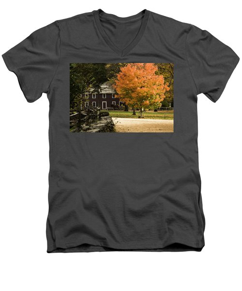 Men's V-Neck T-Shirt featuring the photograph Bright Orange Autumn by Jeff Folger