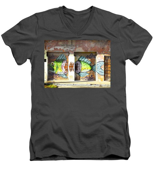 Brightly Colored Fish Mural Men's V-Neck T-Shirt