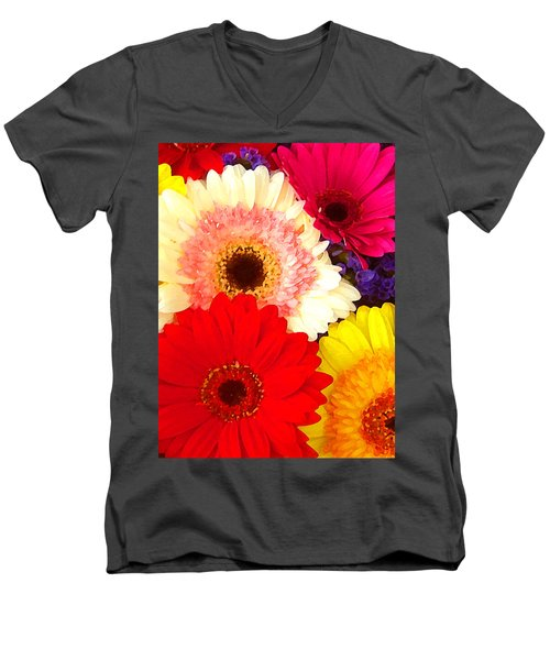 Brightly Colored Gerbers Men's V-Neck T-Shirt