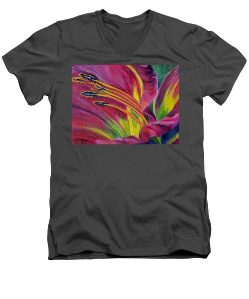 Men's V-Neck T-Shirt featuring the painting Brilliance Within by Marilyn  McNish