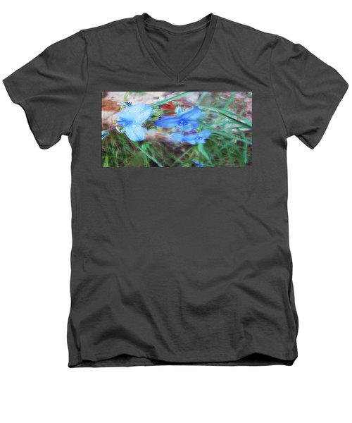 Men's V-Neck T-Shirt featuring the photograph Brilliant Blue Flowers by Cathy Anderson