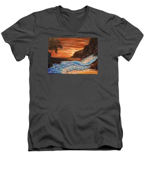 Brilliant Hawaiian Sunset 1 Men's V-Neck T-Shirt by Jenny Lee