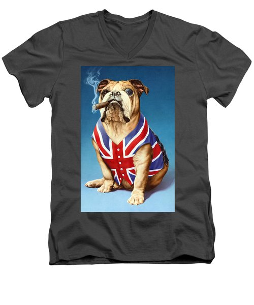 British Bulldog Men's V-Neck T-Shirt by Andrew Farley