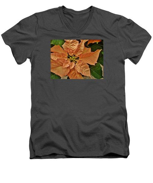 Bronze Poinsettia 3 Men's V-Neck T-Shirt
