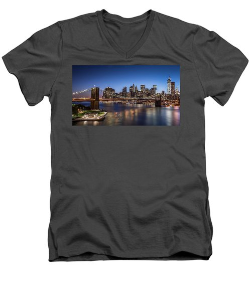 Men's V-Neck T-Shirt featuring the photograph Brooklyn Bridge by Mihai Andritoiu