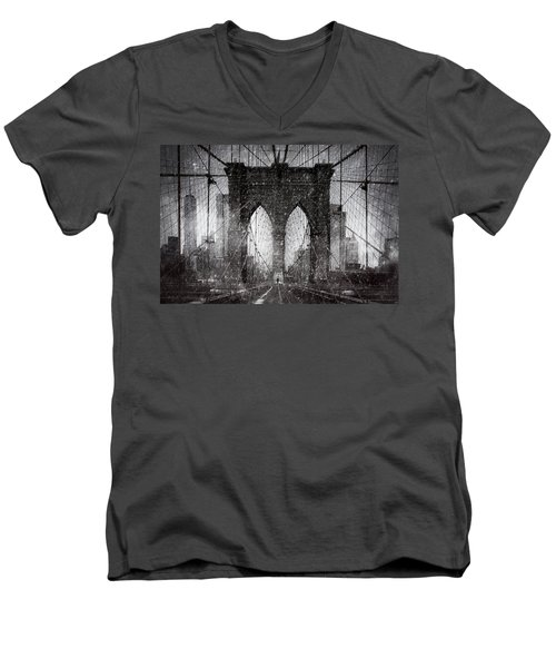 Brooklyn Bridge Snow Day Men's V-Neck T-Shirt