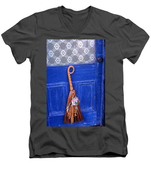 Men's V-Neck T-Shirt featuring the photograph Broom On Blue Door by Rodney Lee Williams