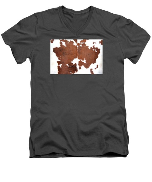 Brown Cowhide Men's V-Neck T-Shirt