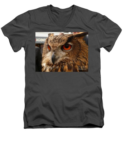 Men's V-Neck T-Shirt featuring the photograph Brown Owl by Vicki Spindler