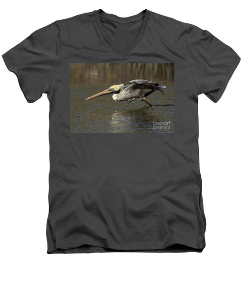 Men's V-Neck T-Shirt featuring the photograph Brown Pelican Fishing Photo by Meg Rousher