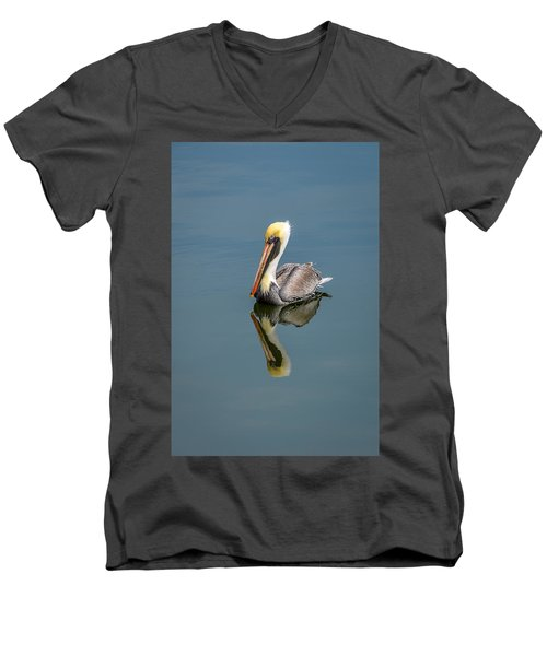 Brown Pelican Reflection Men's V-Neck T-Shirt