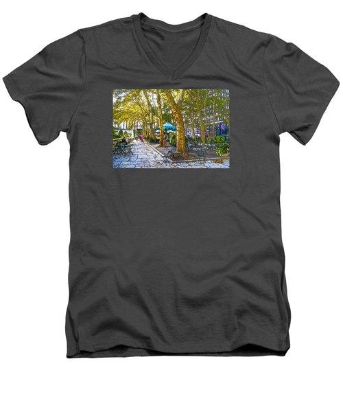 Bryant Park October Men's V-Neck T-Shirt by Liz Leyden