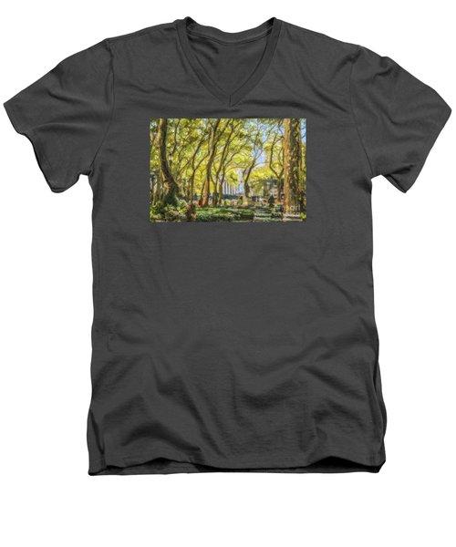 Bryant Park October Morning Men's V-Neck T-Shirt by Liz Leyden