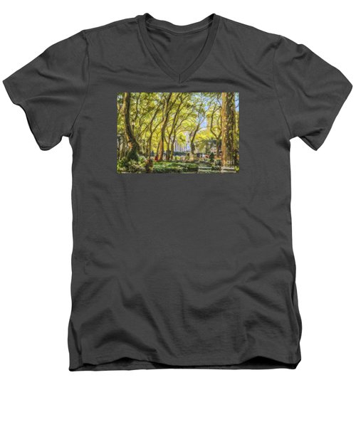 Bryant Park October Morning Men's V-Neck T-Shirt