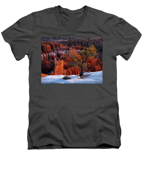 Bryce Canyon Winter Light Men's V-Neck T-Shirt