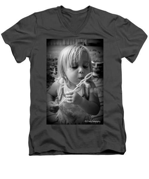 Men's V-Neck T-Shirt featuring the photograph Bubble Fun by Laurie Perry