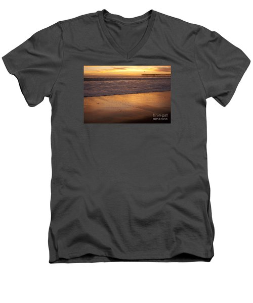 Men's V-Neck T-Shirt featuring the photograph Bubbles On The Sand With Ventura Pier  by Ian Donley