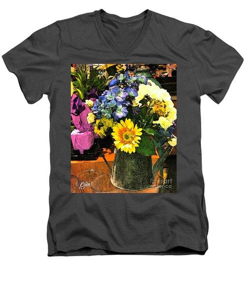 Bucket Of Flowers Men's V-Neck T-Shirt