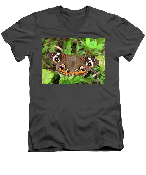 Men's V-Neck T-Shirt featuring the photograph Buckeye Butterfly by Donna Brown