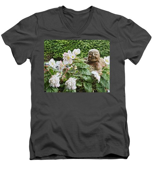 Budda And Begonias Men's V-Neck T-Shirt by Denise Romano