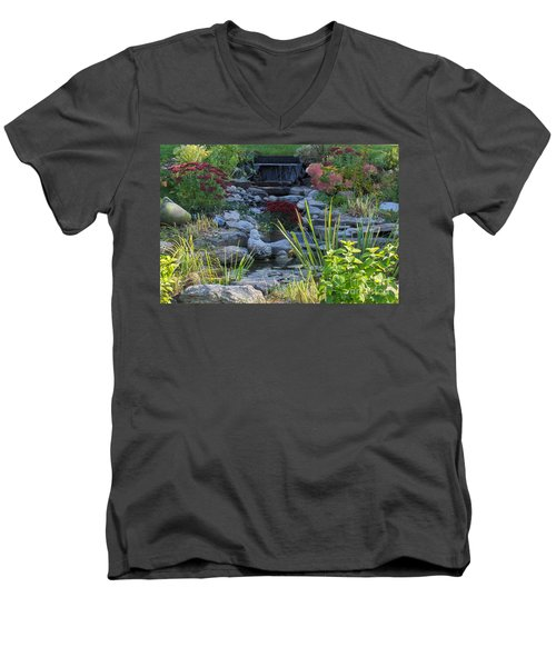 Men's V-Neck T-Shirt featuring the photograph Buddha Water Pond by Brenda Brown