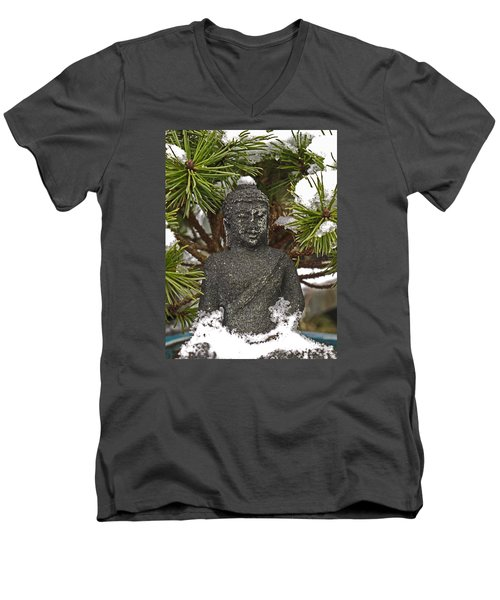 Buddha In The Snow Men's V-Neck T-Shirt